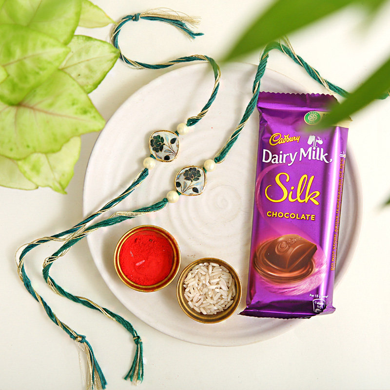 Dairy Milk Silk Chocolate and 2 Rakhi Combo - Order Now For Express Delivery