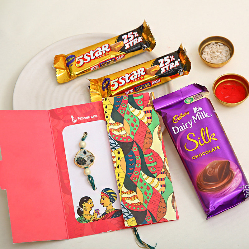 Rakhi Combo of 1 Rakhi and Five Star Silk Chocolate - One Day Delivery Available