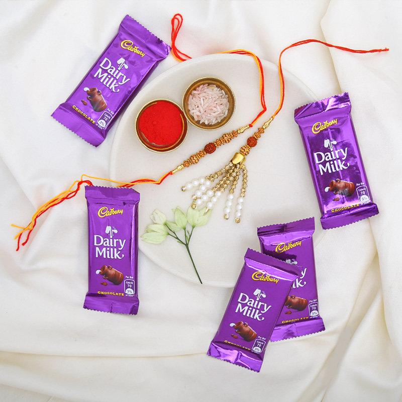 Bhaiya Bhabhi Rakhi Set With Five Cadbury Dairy Milk