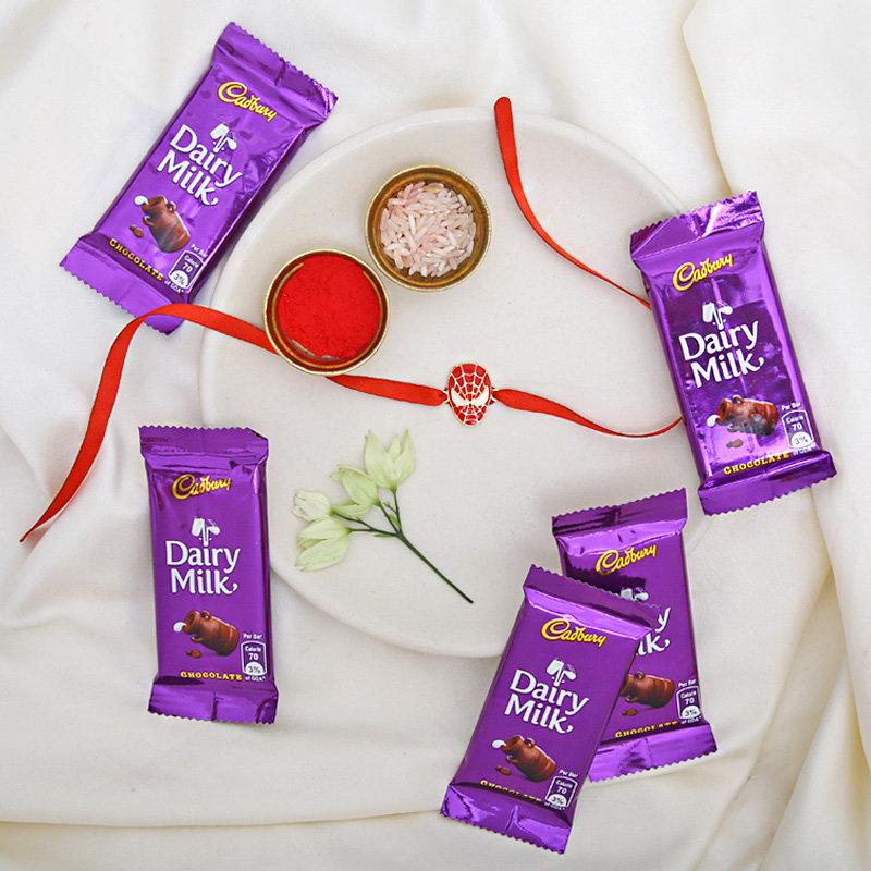 Spidermani With Chocolates - One Chota Bheem Rakhi with Roli and Chawal and 5 Dairy Milk Chocolates - 13gm each