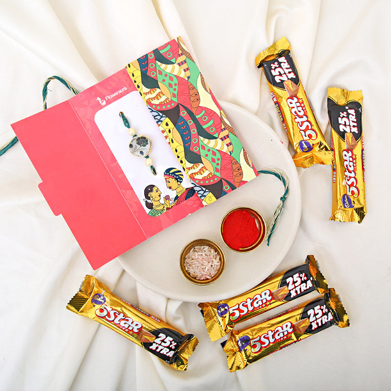 Rakhi with 5 Star Chocolates - Order Now for One Day Delivery