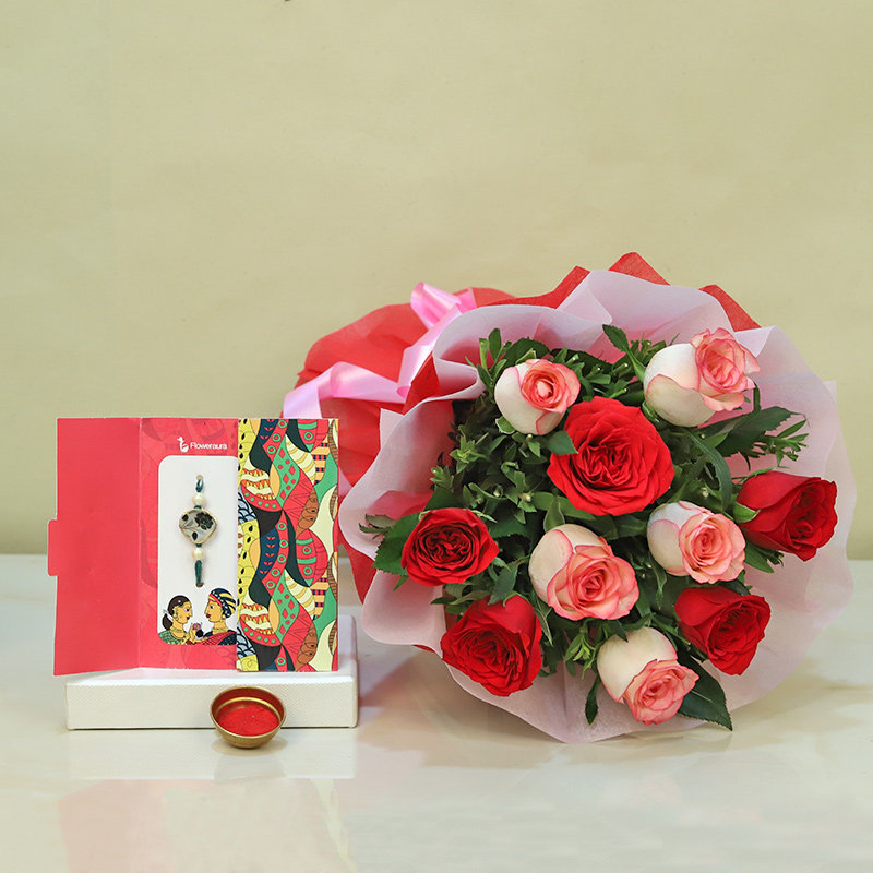 10 Pink and red Roses with Rakhi and Roli Chawal