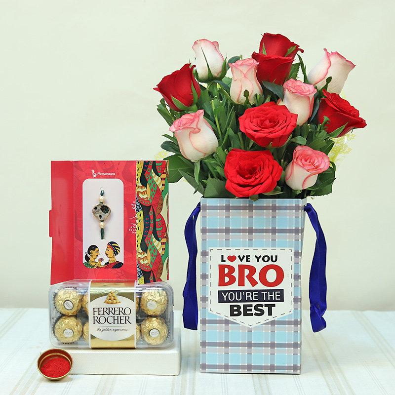 Rakhi With Twelve Red N Pink Roses N Ferrero Rocher Box