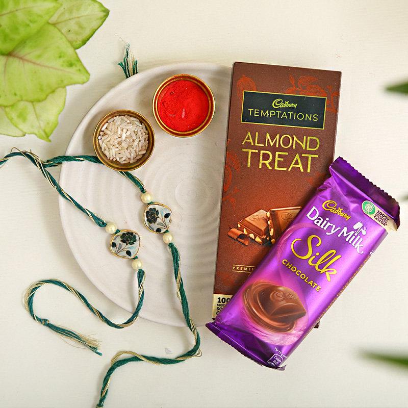 Set of 2 rakhi & chocolates