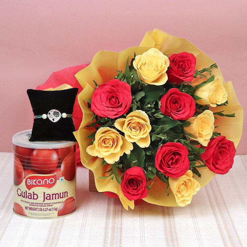 Gulab Jamun Roses Rakhi Combo