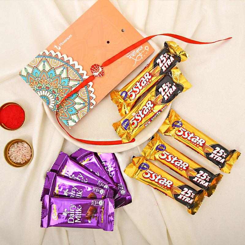 Five Stali rRakhi - One Rakhi with Roand Chawal and 5 Cadbury 5 Star Chocolates - 19.5gm each