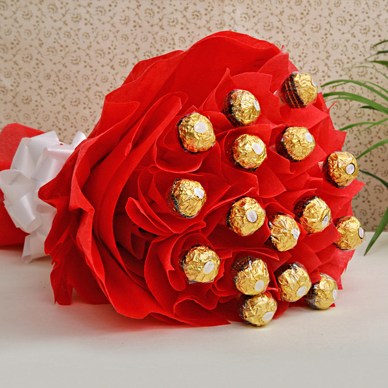 Express Rakhi Bonanza - Combo of Rakhi with Ferrero Rocher chocolate bouquet and Roli tikka