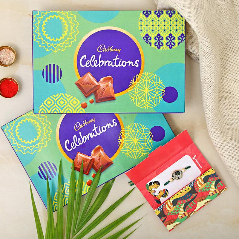 Rakhi with 1 Cadbury Celebration Box 141gm