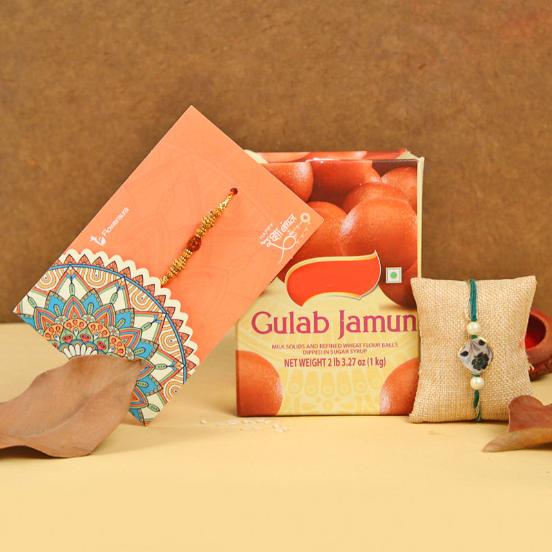 Rakhi with Gulab Jamun Sweet - Order Now for Same Day Delivery in India