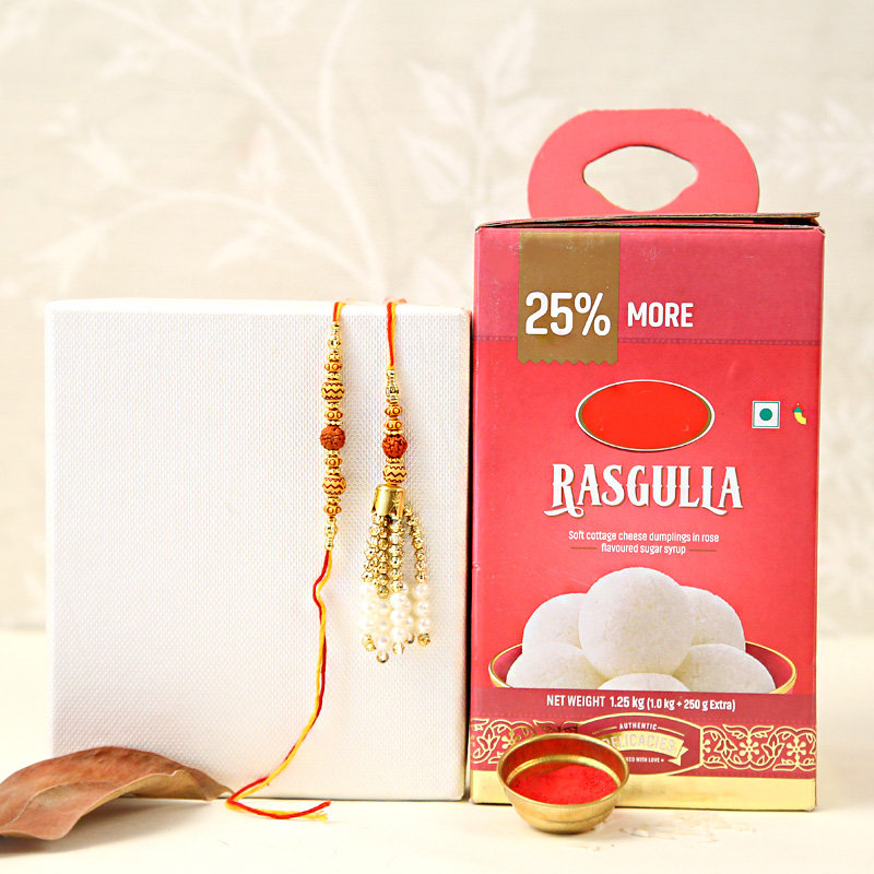 Bhaiya Bhabhi Rakhi With Rasgullas - Set of Bhaiya Bhabhi Rakhi with Roli and Chawal and 1 Kg Rasgulla