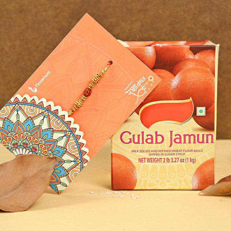 Rudraksha Rakhi With Gulab Jamun - One Rudraksh Rakhi with Roli and Chawal and 1 Kg Gulab Jamun