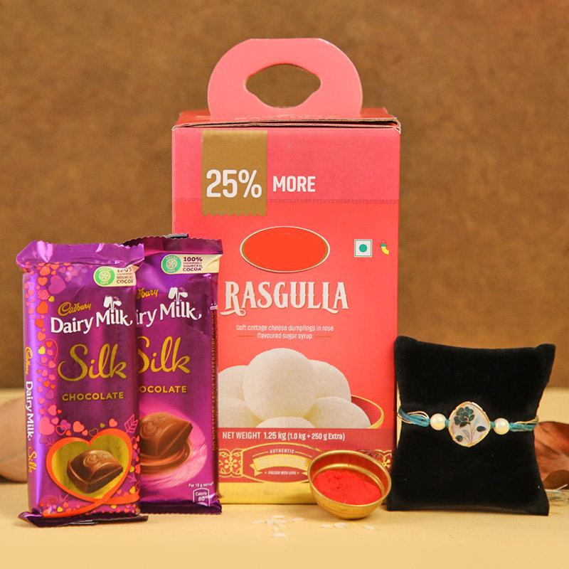 Silk Rasgulla Rakhi Combo