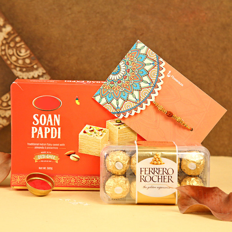 Rakhi with Sixteen Ferrero Rochers and Half Kg Soan Papdi