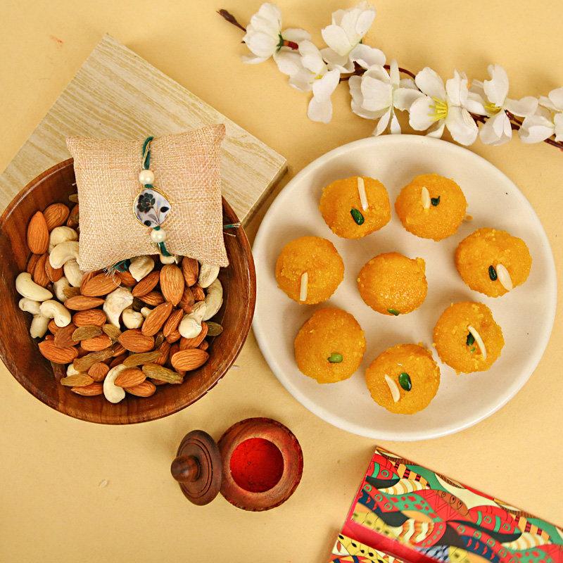 Motichoor Ladoo Rakhi With Dry Fruits