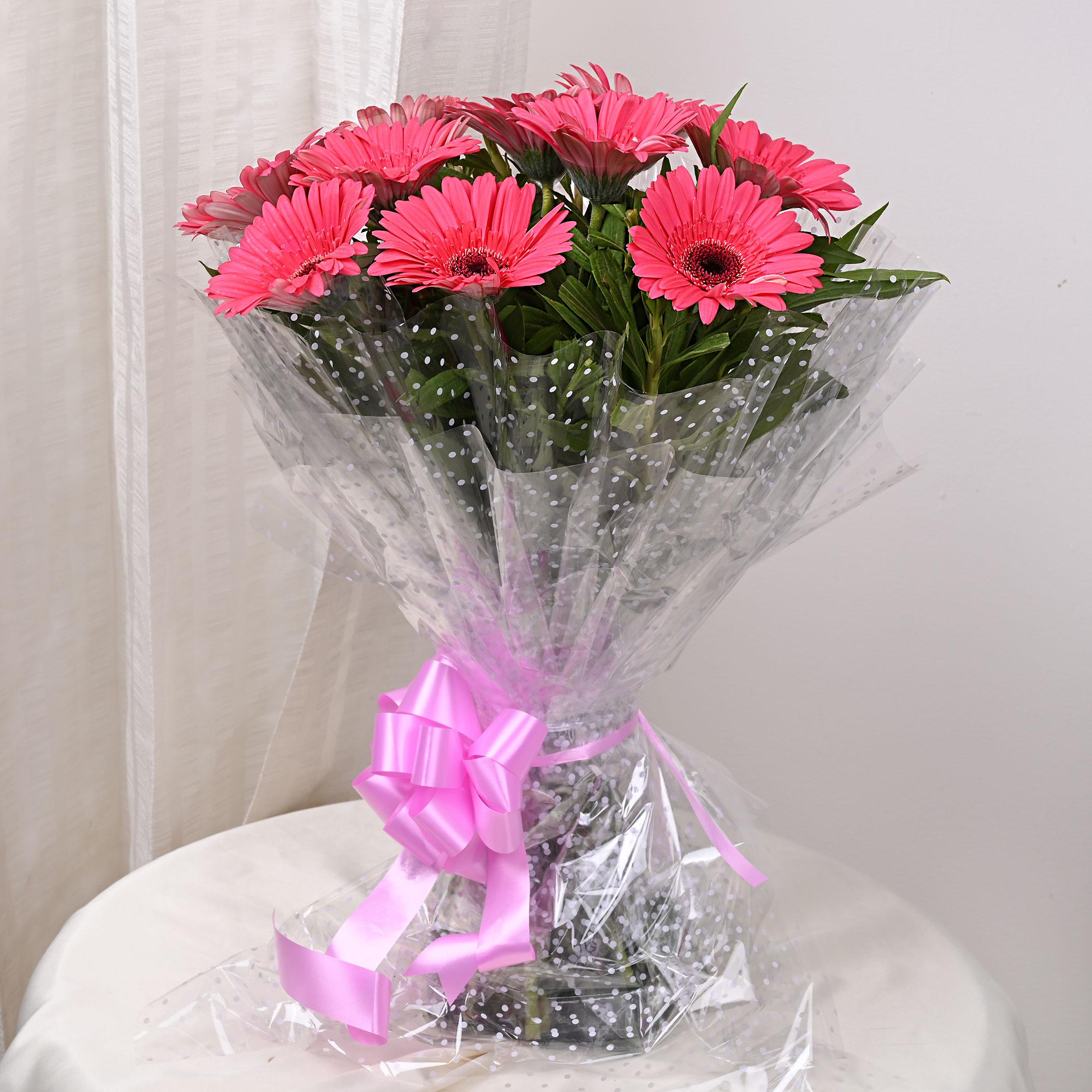10 Pink Gerberas Bouquet in Beautiful Packaging