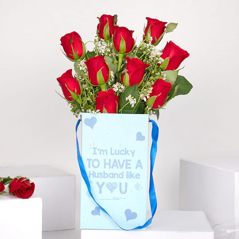 Red Rose Flower Box for Husband