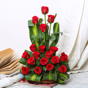 18 Red Roses in Basket