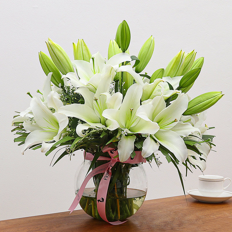 O Darling White Lily Vase: Arrangement of 10 White Lilies