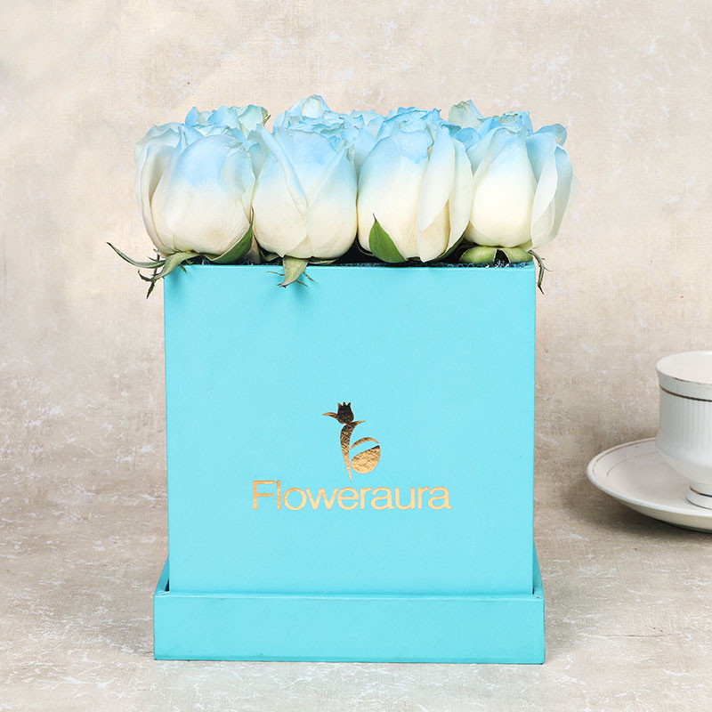 Box Full of Ice Blue Rose online in India