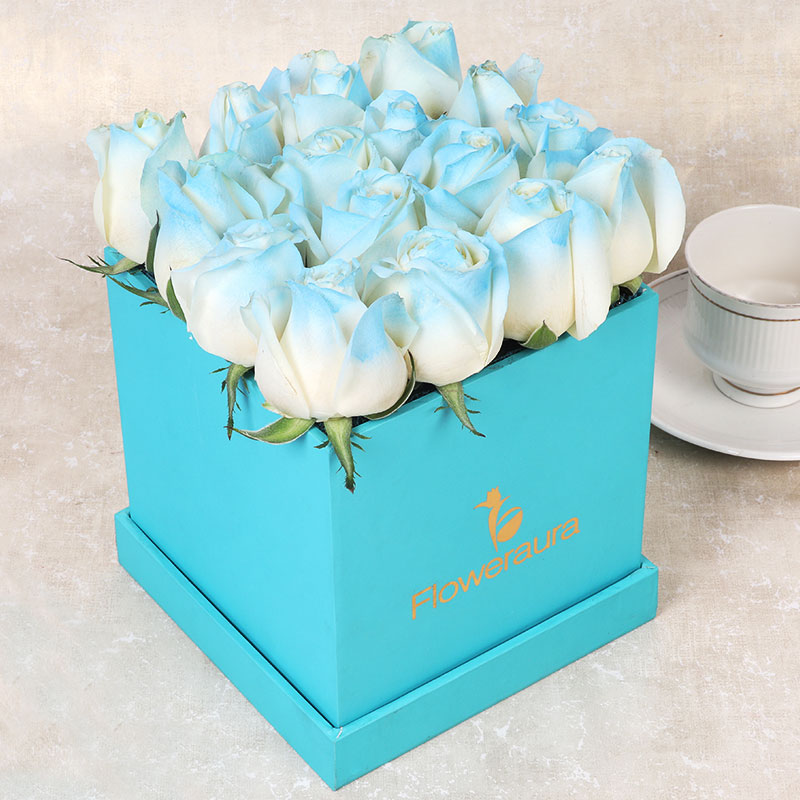 Ice Blue Rose Box For Online Delivery in India