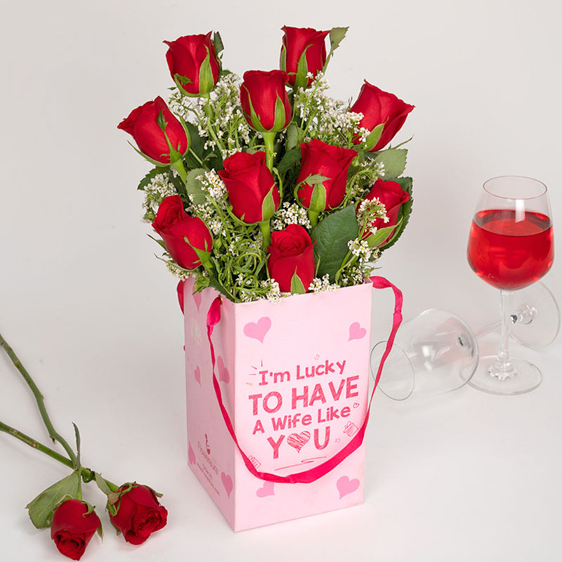 Red Rose Flower Box for Wife