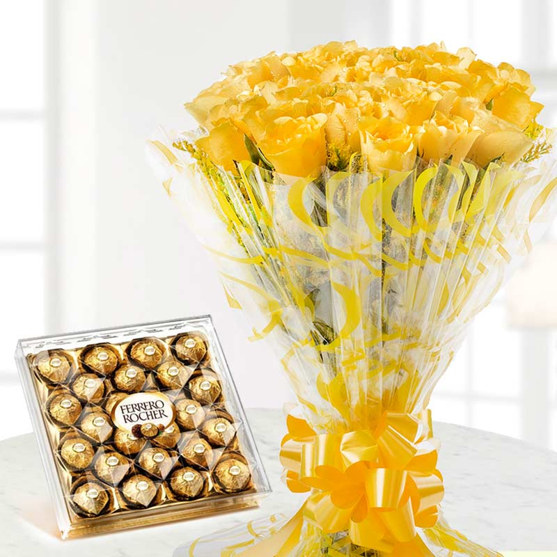 Sunkissed Chocolove - 20 Yellow Roses and 24 Ferrero Rocher