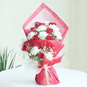 Token of Love And Serenity - 10 Red Roses and 10 White Carnations