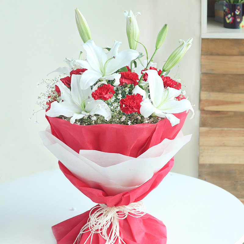 Peaceful Blossoms - White Lilies Red Carnations Red and White Paper Packaging