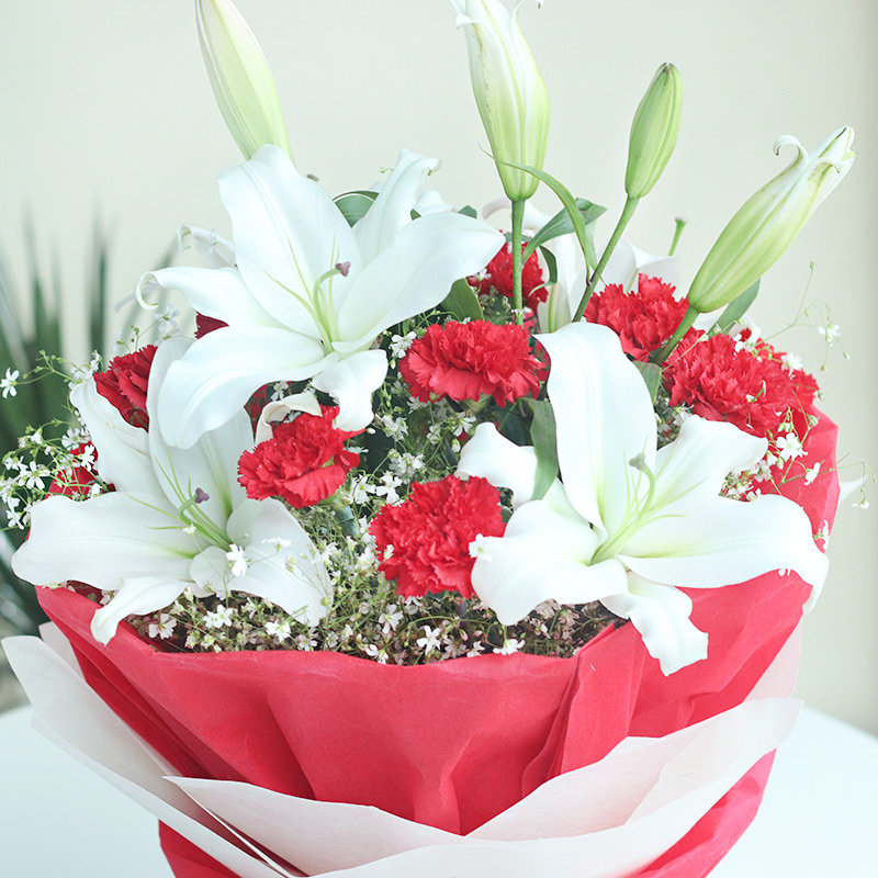 White Lilies Red Carnations Red and White zoom