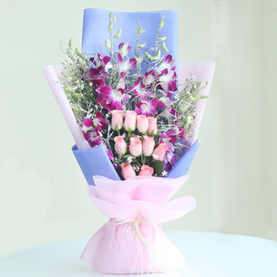 Mix Flower Bouquet - Picturesque Natural Beauty - 6 Purple Orchids and 10 Pink Roses