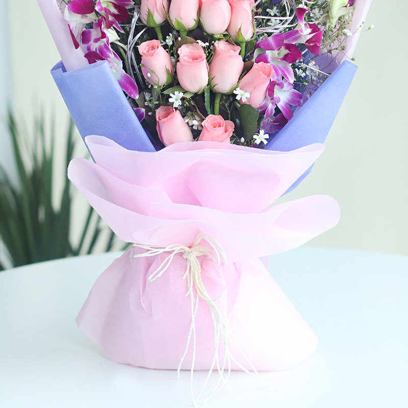 Picturesque Natural Beauty - 6 Purple Orchids and 10 Pink Roses