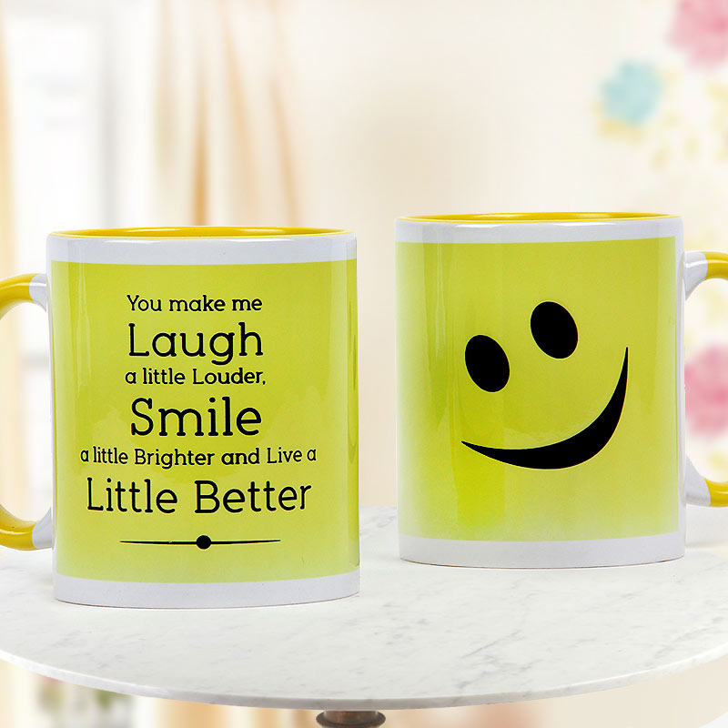 Smile White and Yellow Duotone Mug with Both Sided View
