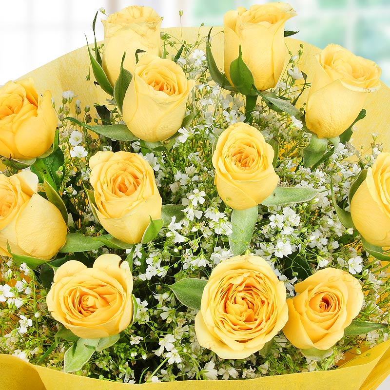 Top view of 12 yellow roses bunch - A part of Heartful Wishes