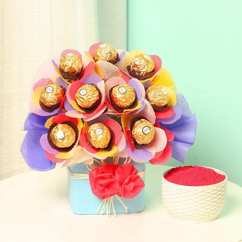 Ferrero rocher chocolates with gulal
