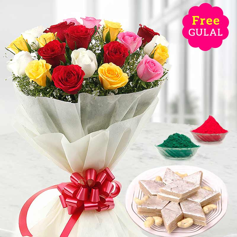Yellow, white, red and pink flowers bunch with kaju Kathli and gulal for Holi