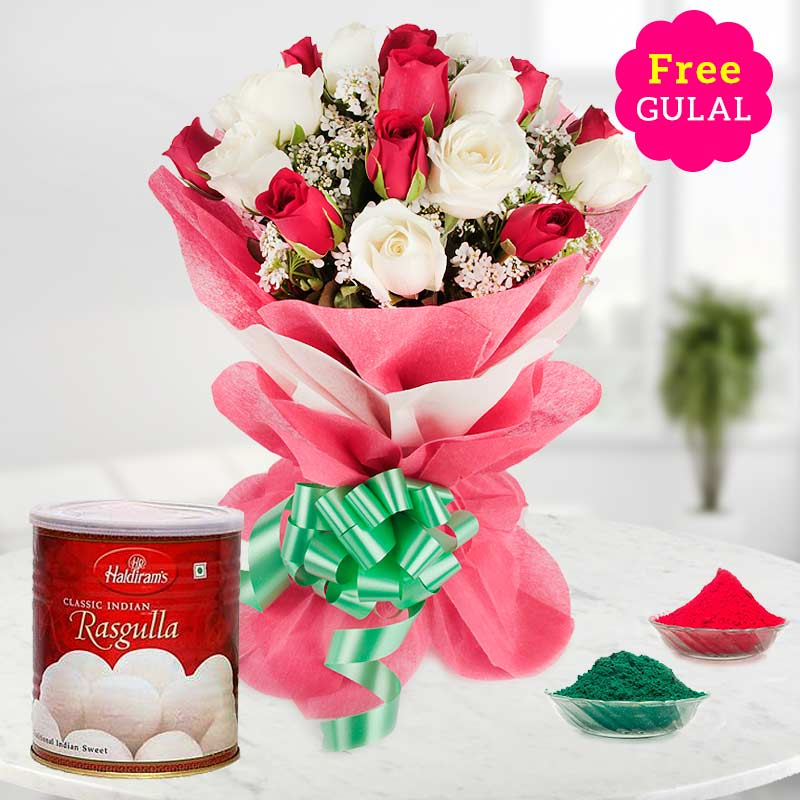 Holi Combo of white and red rose flowers bouquet with Rasgulla and gulal