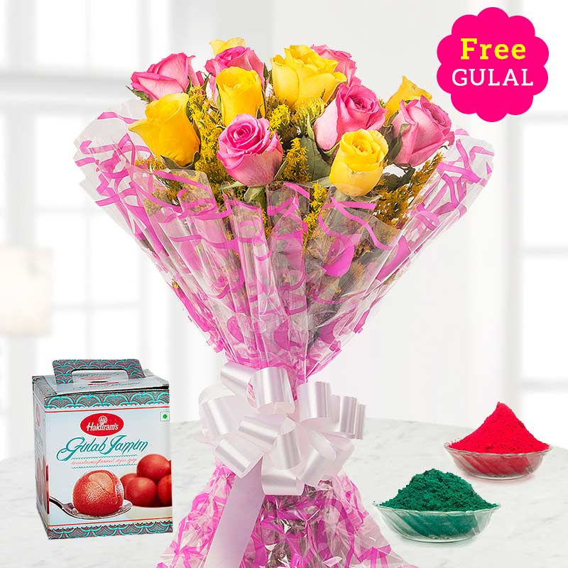 Holi combo of yellow and pink flower bouquet with Gulab jamun and gulal