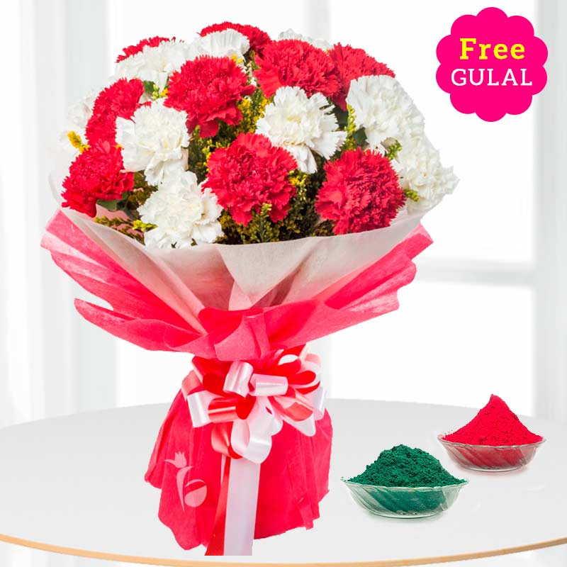 White and red Carnation flowers for Holi with free Gulal