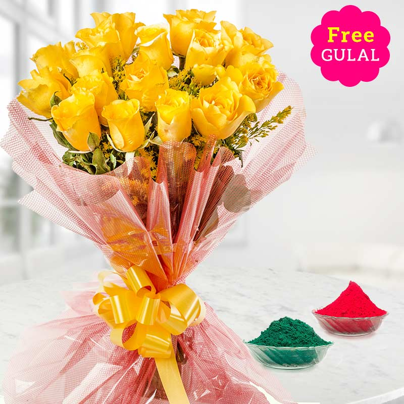Yellow rose flowers for Holi with free Gulal
