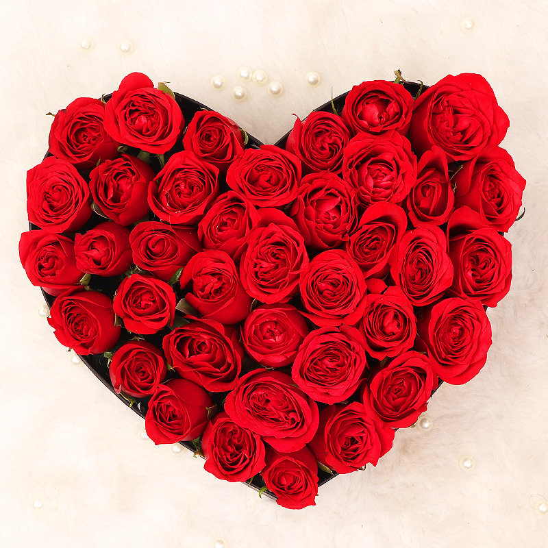 Valentines Heart Shaped 35 Red Roses Bouquet