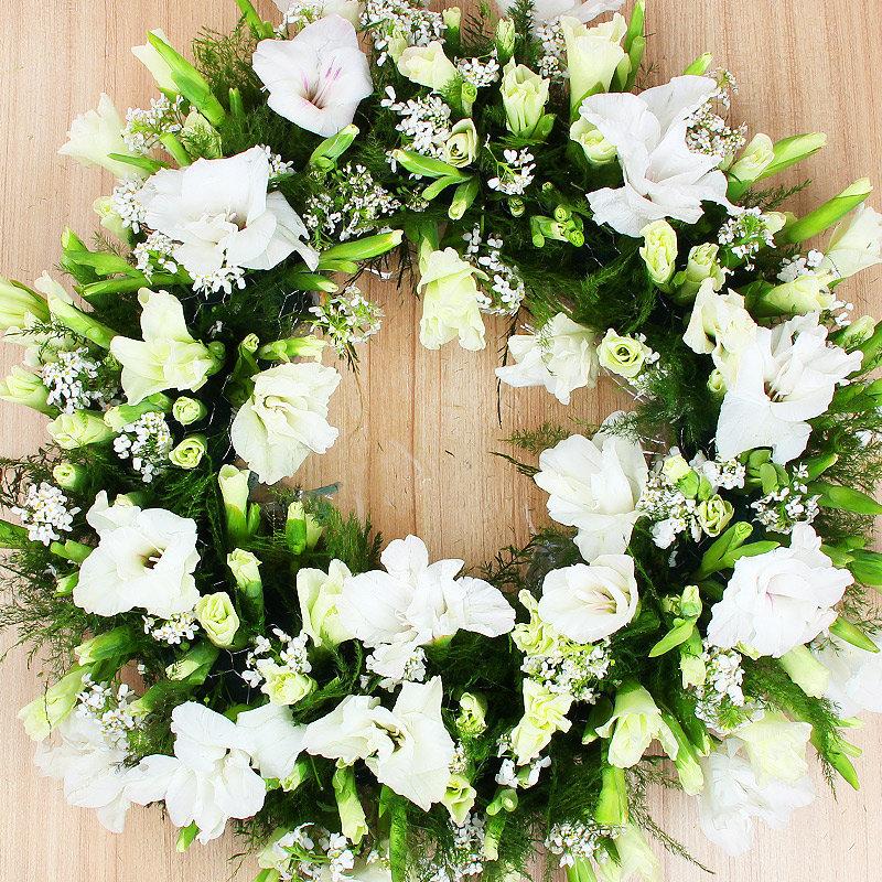 Mixed White Funeral Flowers Arrangement