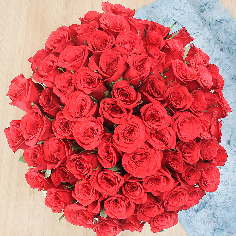 50 Red Roses and 15 White Carnations in Glass Vase with Top View