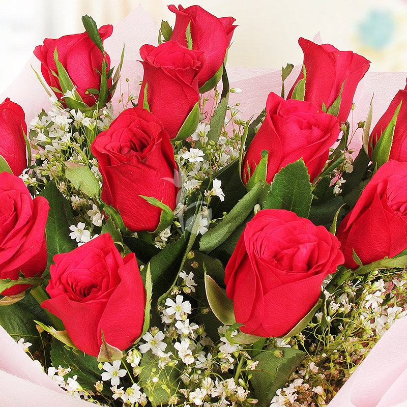 Bouquet of 12 red lovely roses with Top View
