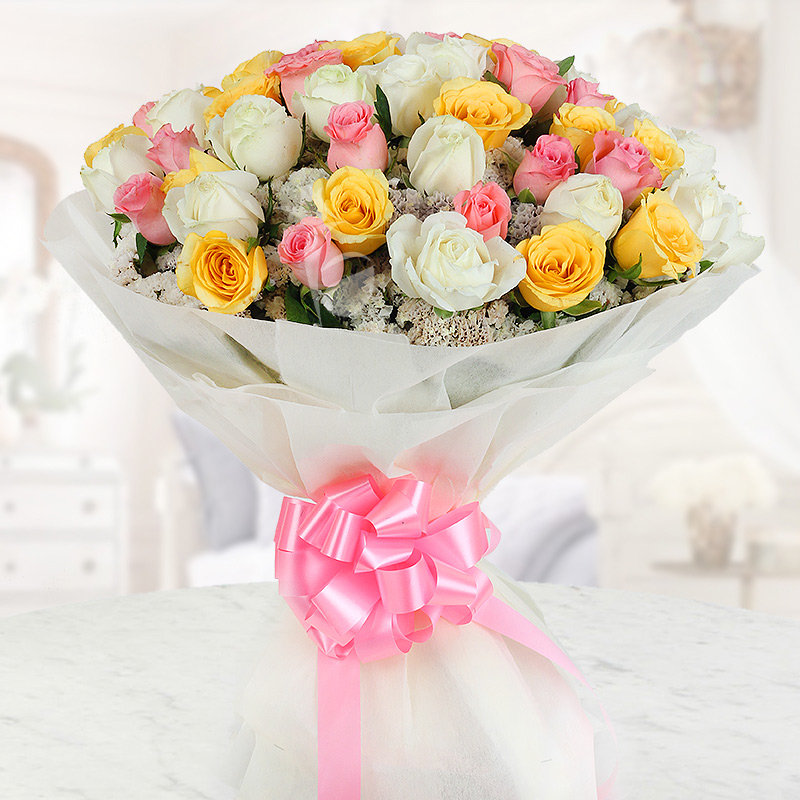 Front view of 50 mixed roses in Dreamy Emotions