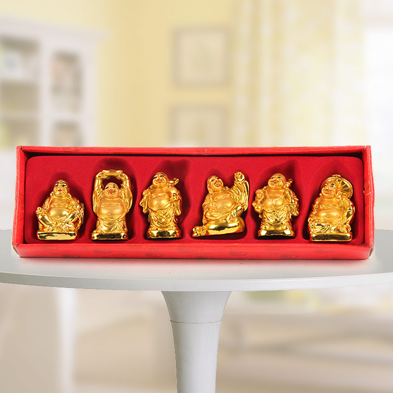 Gift pack of 6 laughing Buddhas in different positions