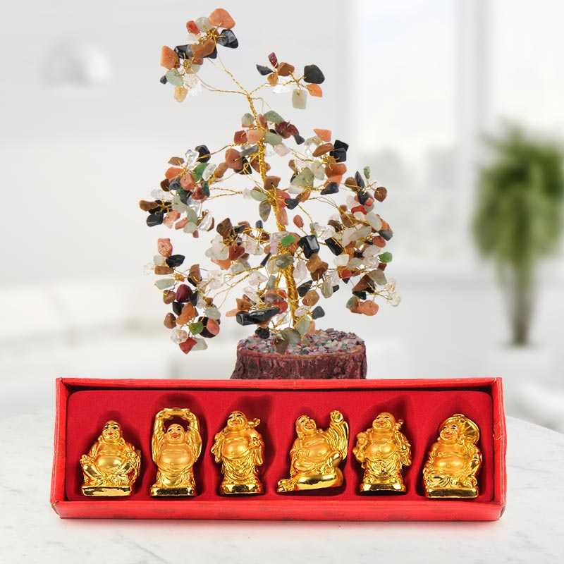 Combo of real crystal in tree shape design and 6 laughing Buddhas