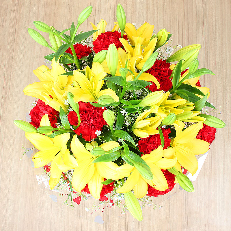 10 Red Carnations and 5 Yellow Lilies with Top View