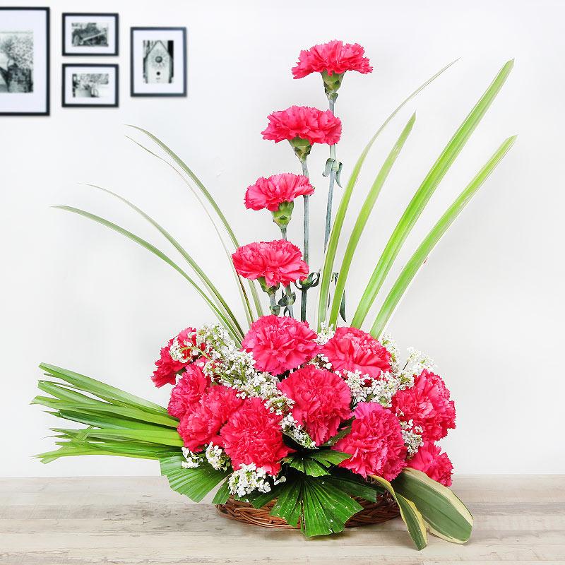 15 Pink Carnations in Basket