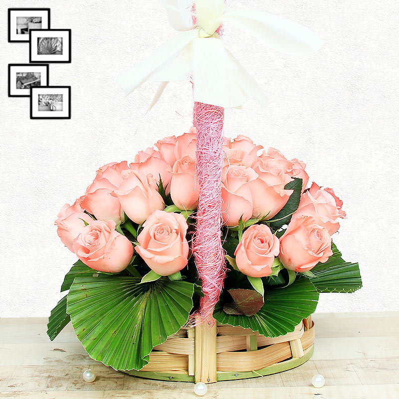 20 Baby Pink Roses in Round Handle Basket with Side View