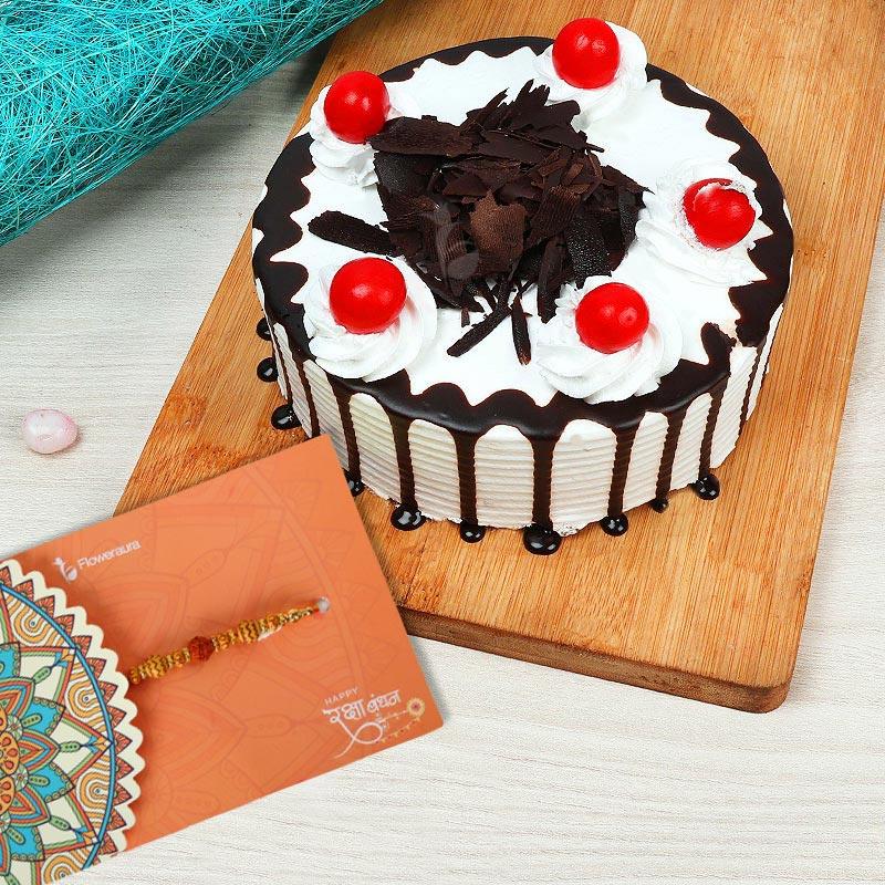 Rakhi with Black Forest Cake
